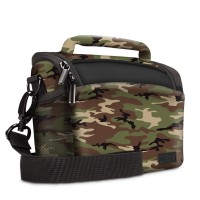 USA Gear Durable Protective Camera Bag with Rain Cover and Adjustable Dividers - Camo Green