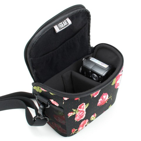 Durable Protective Bridge Camera Bag with Protective Neoprene Material and Adjustable Dividers-Floral
