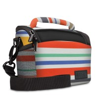 USA Gear Durable Protective Camera Bag with Rain Cover and Adjustable Dividers - Striped