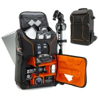 USA Gear Digital SLR Camera Backpack with Laptop Compartment , Rain Cover , Lens Storage for DSLR - Orange