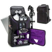 USA Gear Digital SLR Camera Backpack with Laptop Compartment , Rain Cover , Lens Storage for DSLR - Purple