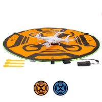 USA Gear Portable Drone Landing Pad with LED Lighting - 30 inch , Double Sided , 3 LED Modes