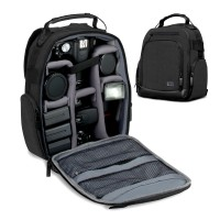 USA GEAR UBK DSLR Camera Backpack with Customizable Interior Storage and Weather Resistant Bottom - Black