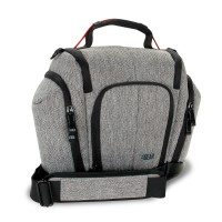 USA GEAR U Series UTX Camera Case with Weather Resistant Bottom, Soft Cushioned Interior and Side Pockets - Gray
