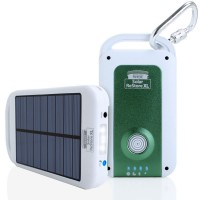Solar Charger & 4000mAh Power Bank with USB Cable , Carabiner & Suction Mounts-White