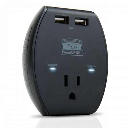 3-Port AC Outlet Adapter with 5V USB Output , Surge Protection & Compact Design - Black
