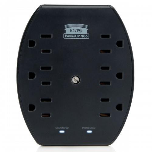 Rapid 6-Port AC Outlet Adapter with 2.1A Dual USB Ports and Overload Protection-Black