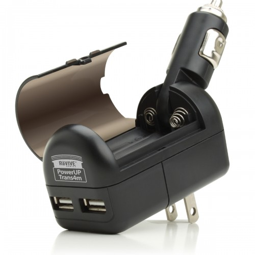 All-in-One Charger with Dual USB Ports , AC / DC Adapters & AA or 9V Battery-Black