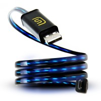 DATASTREAM Micro USB Cable with Blue LED Flowing Current for Power Charging, Data Sync and Data Transfer