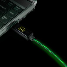 DATASTREAM Micro USB Cable with Green LED Flowing Current for Charging, Data Sync and Data Transfer
