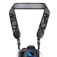 USA GEAR TrueSHOT Camera Strap with Neoprene Design and Quick Release Buckles - Black Paisley
