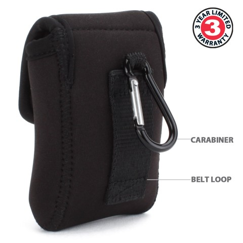 USA GEAR FlexARMOR D35 Neoprene Device Case with Carabiner Clip & Belt Loop - Black