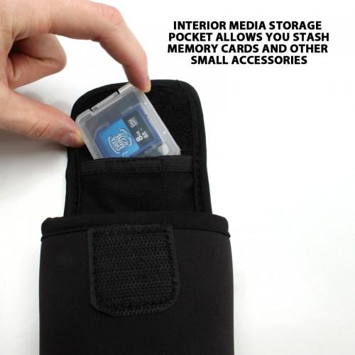 USA GEAR FlexARMOR D35 Neoprene Device Case with Carabiner Clip & Belt Loop - Black