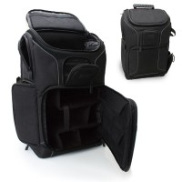USA Gear Digital SLR Camera Backpack with Laptop Compartment , Rain Cover , Lens Storage for DSLR - Black