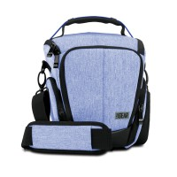 USA GEAR U Series UTL Compact Camera Case with Smooth Streamlined Shape and Side Storage Pockets - Blue