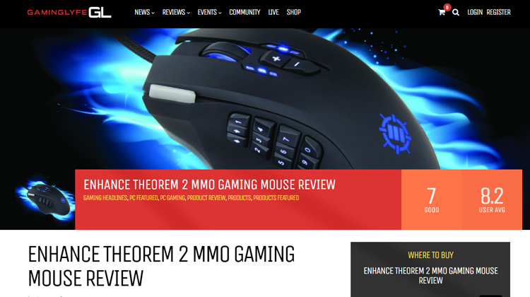 Gaminglyfe.com - ENHANCE THEOREM 2 MMO GAMING MOUSE REVIEW