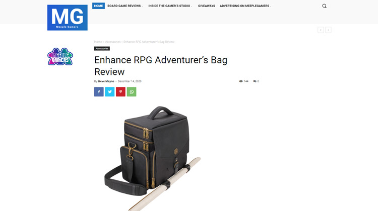 Meeple Gamers Takes a look at the ENHANCE RPG Adventurer's Bag