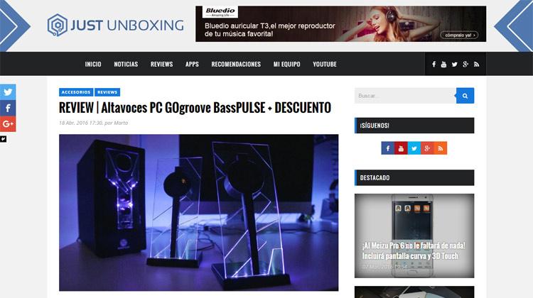 Just Unboxing - Altavoces PC GOgroove BassPULSE