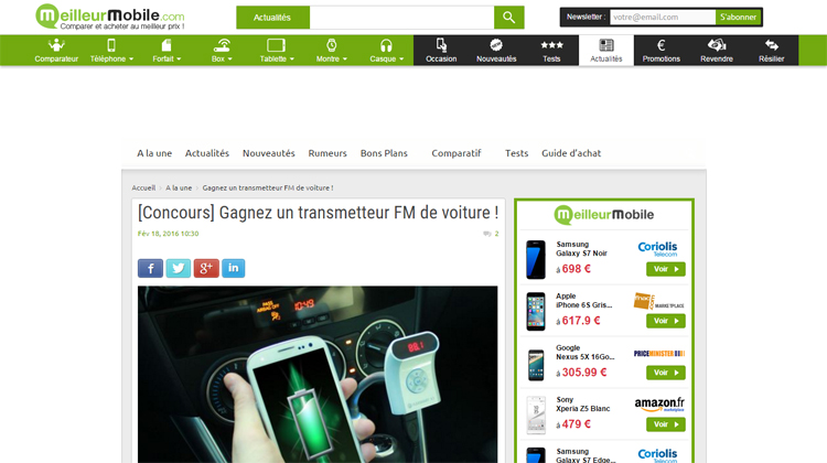Meilleur Mobile - Gagnez un transmetteur FM de voiture