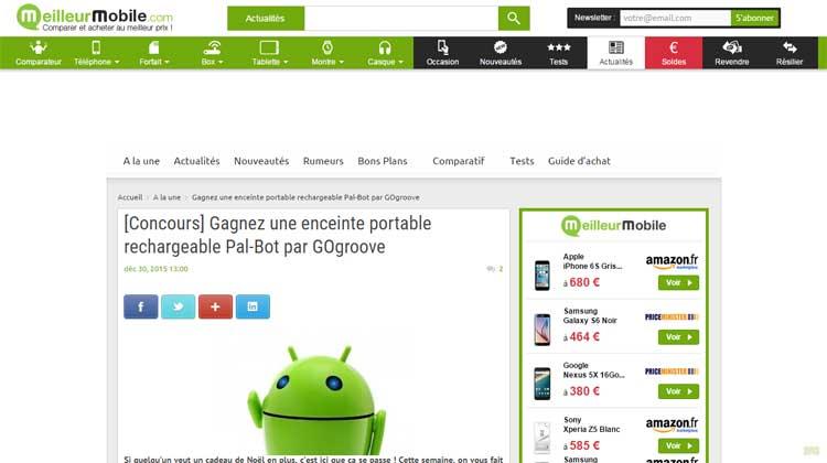 Meilleur Mobile - GOgroove Pal Bot mention