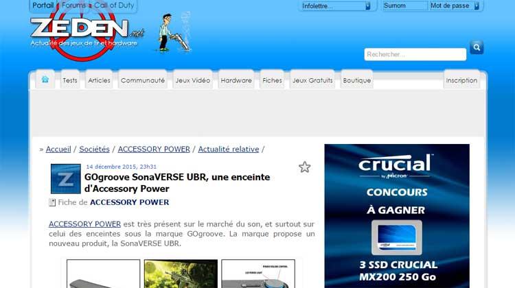Zeden.net mention of GOgroove SonaVERSE UBR