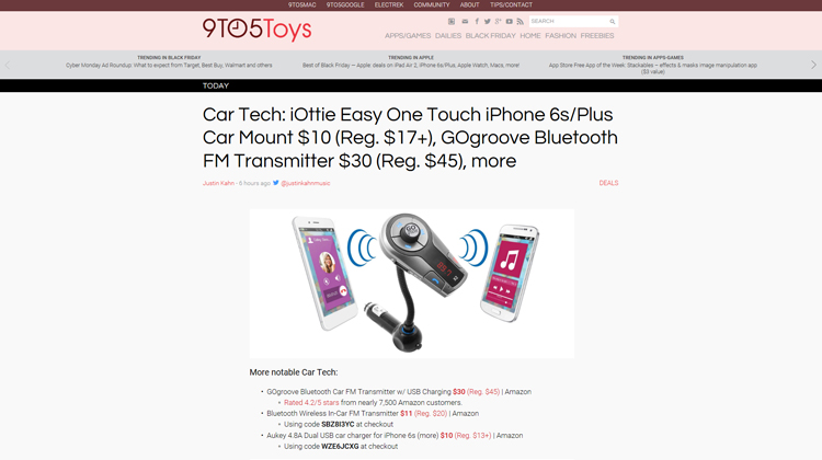 9TO5Toys GOgroove FlexSMART X2 Bluetooth FM Transmitter mention