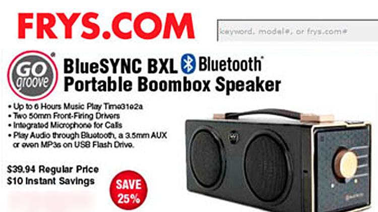 Fry's features BlueSYNC BXL in website flyer