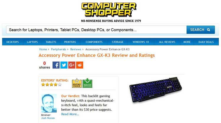 Computer Shopper ENHANCE GX-K3 Review and Ratings