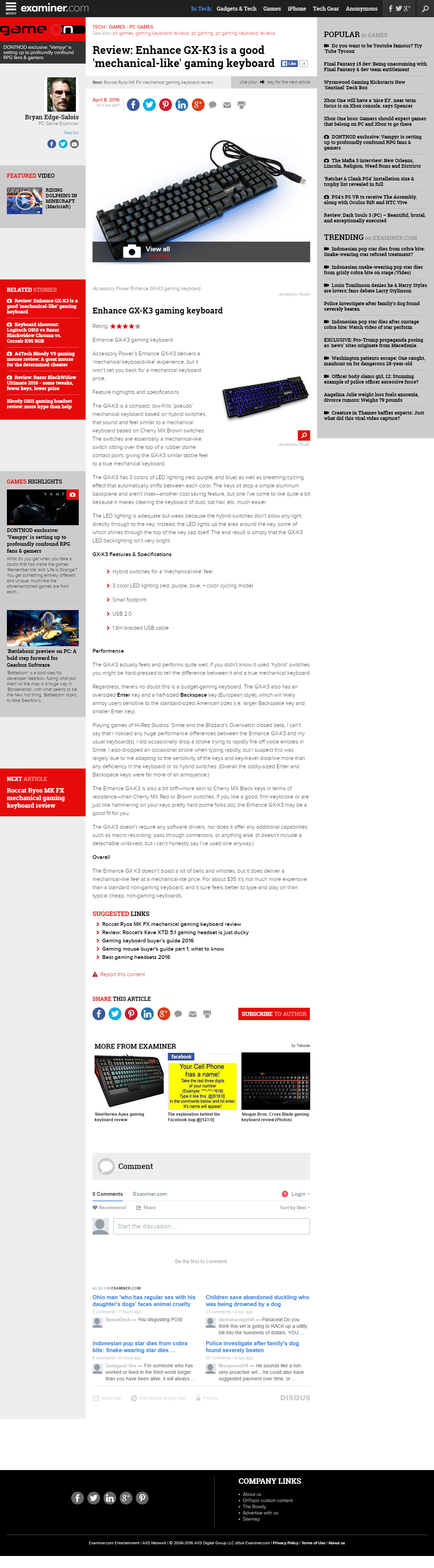 Examiner.com review of ENHANCE GX-K3