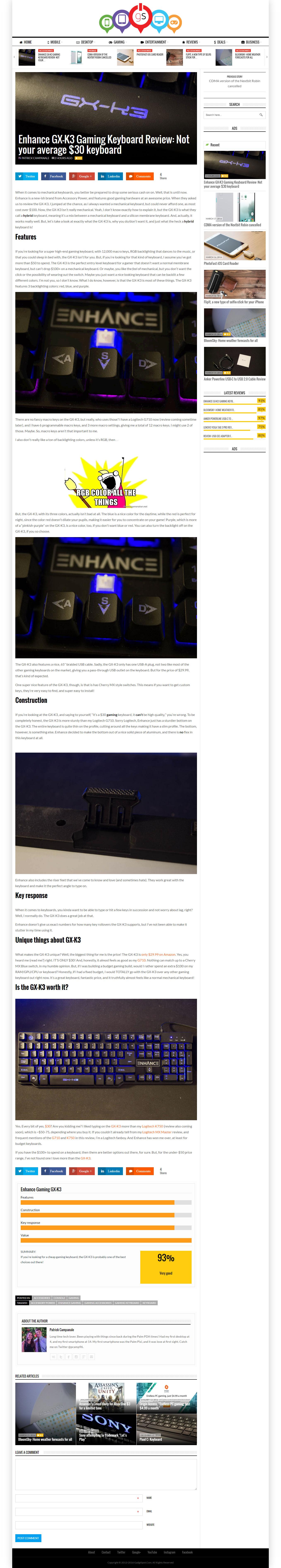 gadgtspot review of enhance gx-k3 keyboard