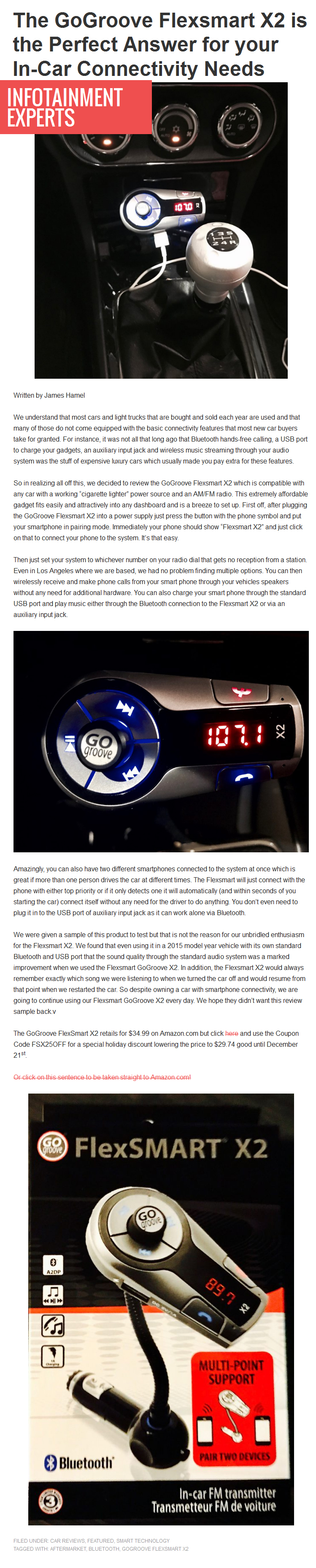 The GoGroove Flexsmart X2 is the Perfect Answer for your In-Car Connectivity Needs