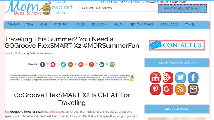 Mom Does Reviews feature on FlexSMART X2