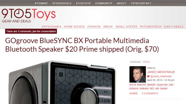 9TO5Toys GOgroove BlueSYNC BX Mention