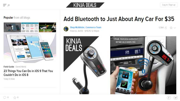 Kinja Deals GOgroove FlexSMART X2 FM Transmitter mention