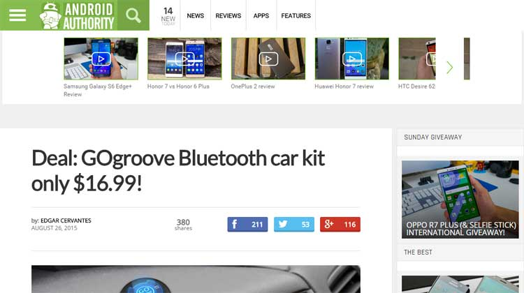 Android Authority GOgroove BlueGATE CTR Mention