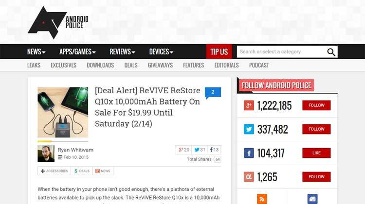 Android Police ReVIVE ReStore Q10x Mention