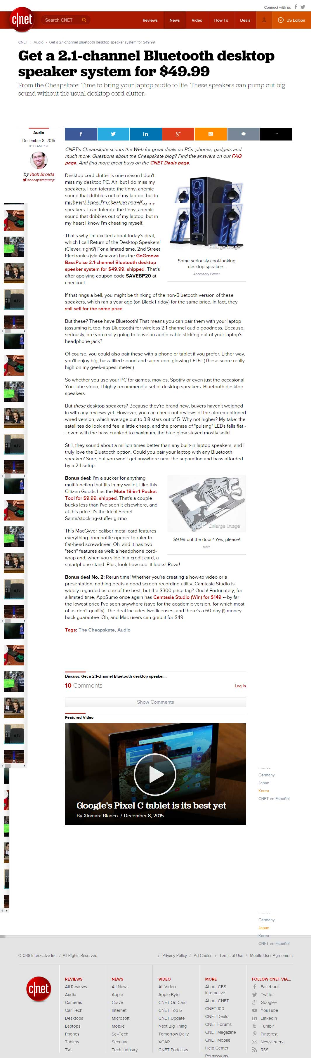 cnet review of GOgroove BassPULSE