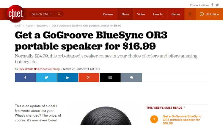 C|Net GOgroove BlueSYNC OR3 Mention