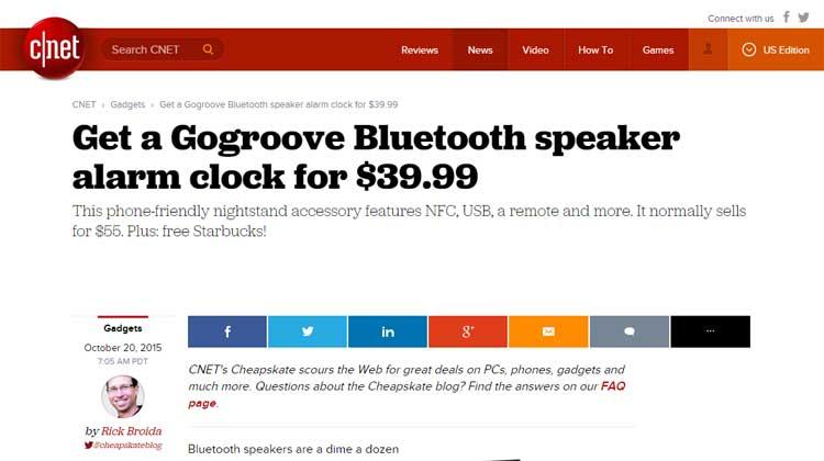 C|Net GOgroove BlueSYNC RST Alarm Clock Review