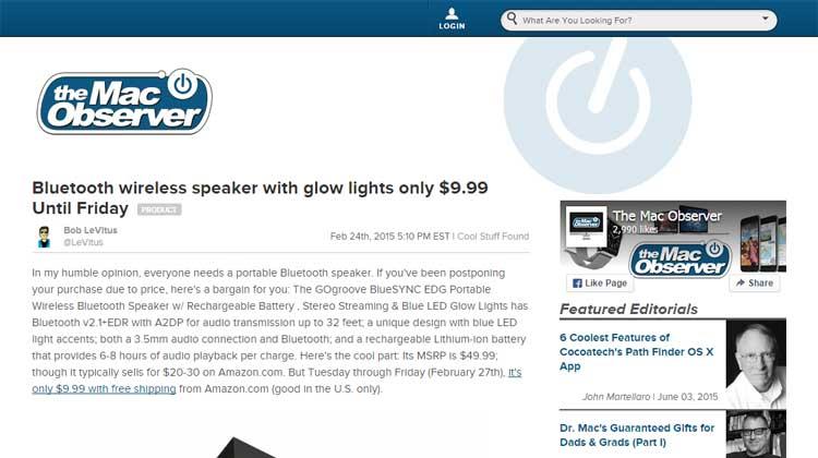 The Mac Observer GOgroove BlueSYNC EDG Mention