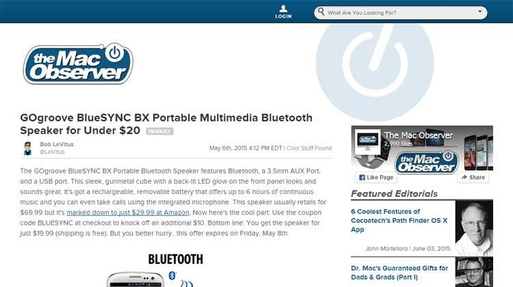 The Mac Observer GOgroove BlueSYNC BX Mention