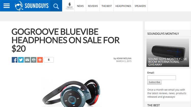 SOUNDGUYS GOgroove BlueVIBE EXS+ Mention