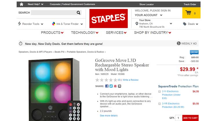 Staples GOgroove MOVE L3D Mention
