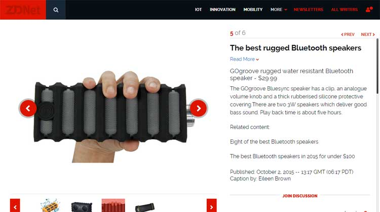 ZDNet GOgroove BlueSYNC RGD Top 6 Rugged Speakers