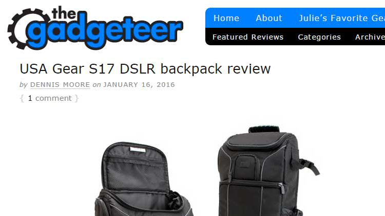 The Gadgeteer - USA GEAR S17 DSLR backpack Review
