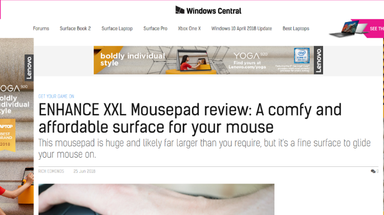 WindowsCentral.com Reviews ENHANCE Mouse Pad with Wrist Rest