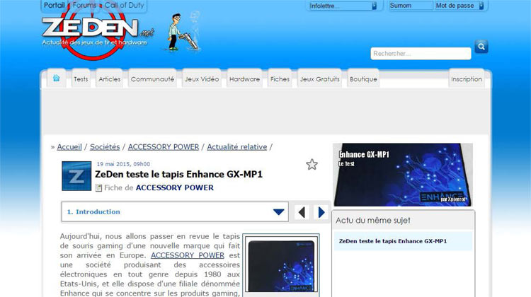 Zeden.net ENHANCE GX-MP1 French Review
