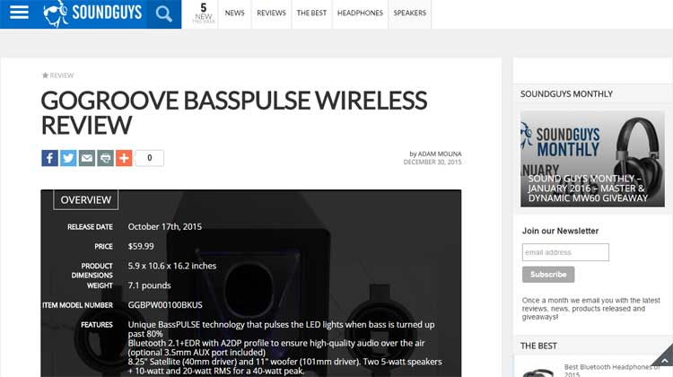 Soundguys - GOgroove BassPULSE Review