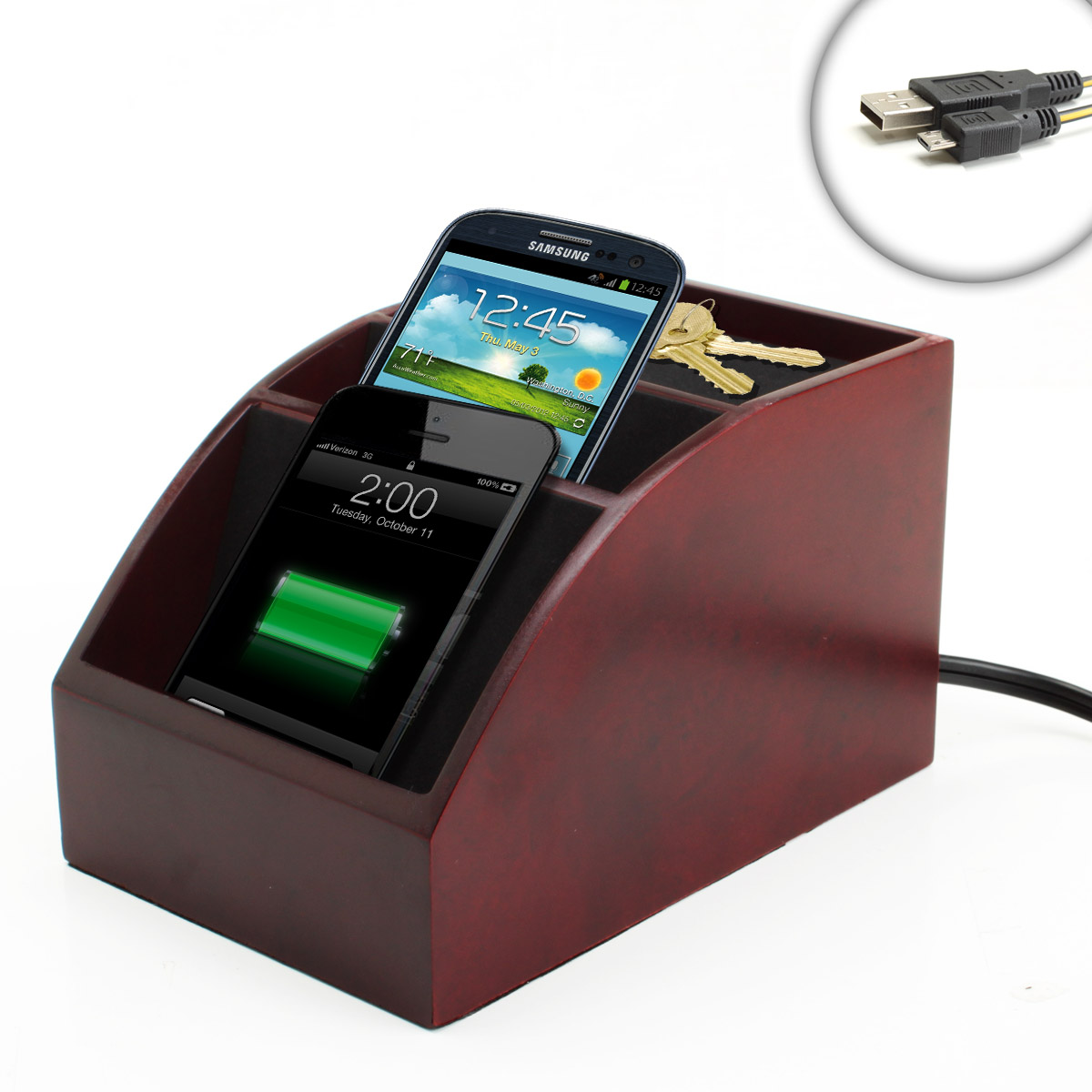 Spacesaver Wooden Charging Station Organizer For