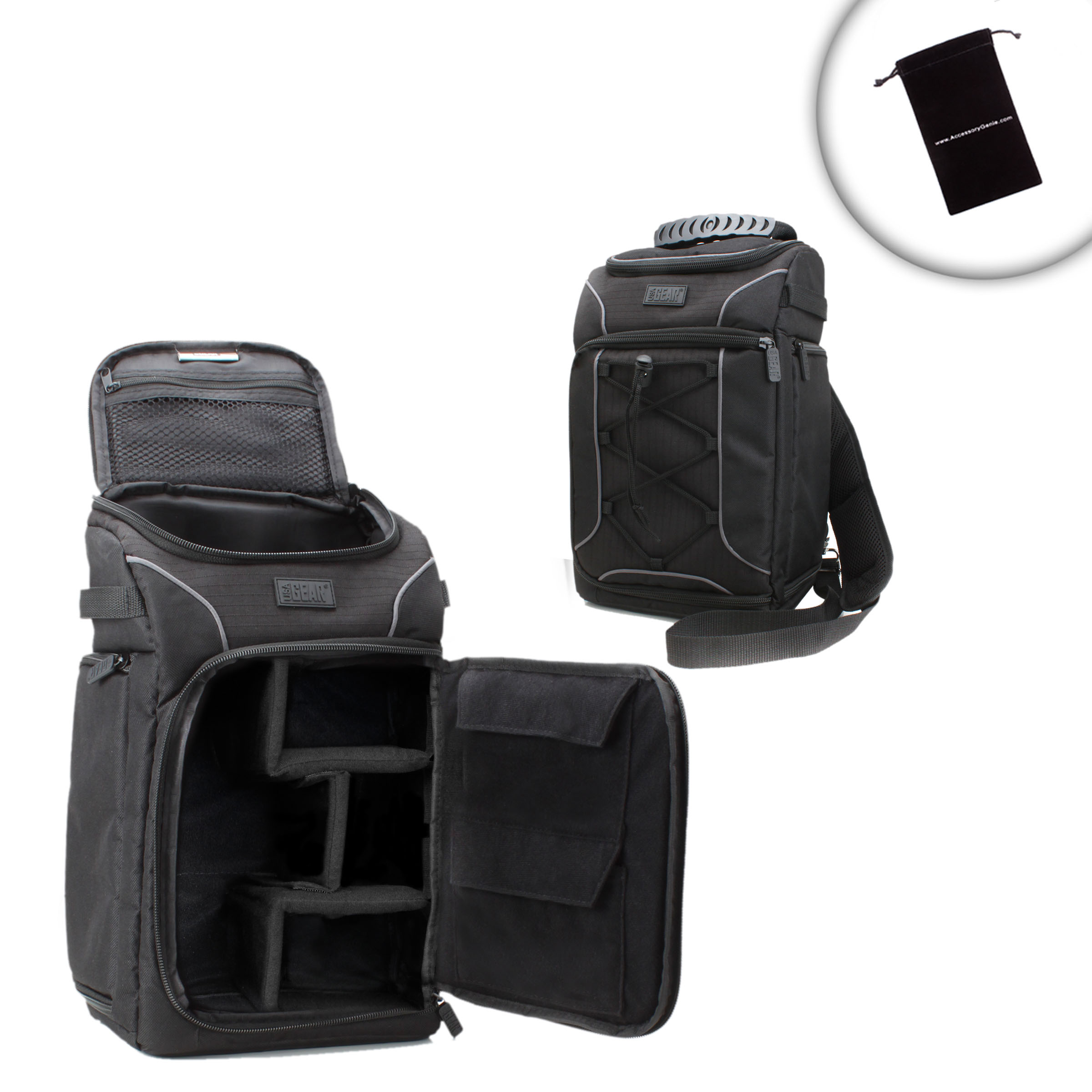 79cb869aaea Details about USA Gear Custom Interior DSLR Camera Shoulder Sling Backpack  with Rain Cover